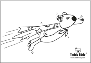 Teddy Eddy & Kim Ausmalbild Superheld