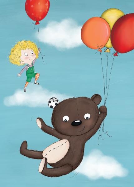 Teddy Eddy Postkarte Luftballons